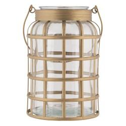 Szklany Lampion Na Metalowej Podstawie B