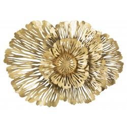 Metalowy Dekor Ścienny Złoty Kwiaty A