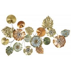 Metalowa Dekoracja Ścienna z Liśćmi i Kwiatami B