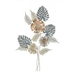 Metalowa Dekoracja Ścienna z Liśćmi i Kwiatami C