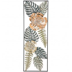Metalowa Dekoracja Ścienna z Liśćmi i Kwiatami D