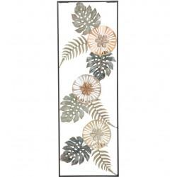 Metalowa Dekoracja Ścienna z Liśćmi i Kwiatami E