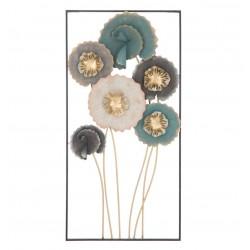 Metalowa Dekoracja Ścienna z Liśćmi i Kwiatami A