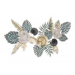 Metalowa Dekoracja Ścienna z Liśćmi i Kwiatami F