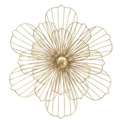 Złota Dekoracja Ścienna Metalowy Kwiat C