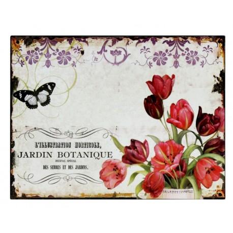 metalowe obrazki ozdobione tulipanami