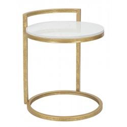 Metalowy Stolik Złoty Kwadratowy Marble