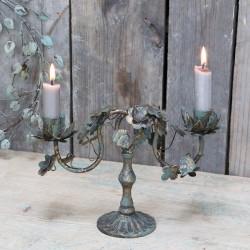 Metalowy Świecznik Prowansalski Chic Antique z Liśćmi B