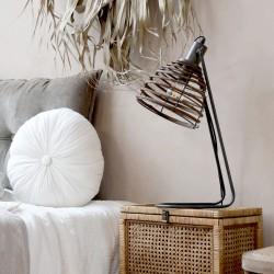 Lampa Stołowa Chic Antique Z Rattanowym Abażurem