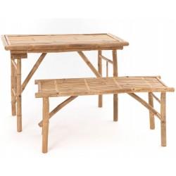 Stolik Bambusowy z Dwiema Ławkami
