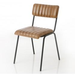 Krzesło Loft ze Skórzanym Siedziskiem i Oparciem A