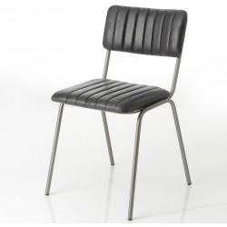 Krzesło Loft ze Skórzanym Siedziskiem i Oparciem C