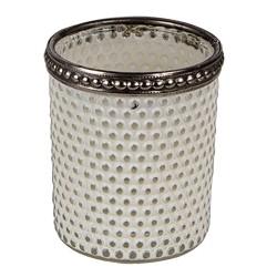 Szklany Świecznik Na Tealight Biały A Clayre & Eef