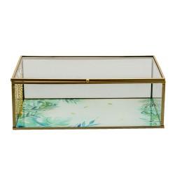 Szklany Pojemnik ze Złotym Rantem i Liśćmi L Clayre & Eef