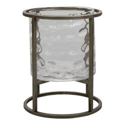 Szklany Lampion Loft Na Metalowej Podstawie M Clayre & Eef