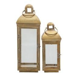 Duże Lampiony Latarnie Metalowe Antyczny Mosiądz 2 szt. Clayre & Eef