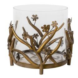 Szklany Lampion z Metalowymi Kwiatkami Clayre & Eef