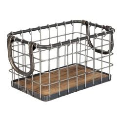 Metalowy Kosz z Drewnianym Spodem B Clayre & Eef