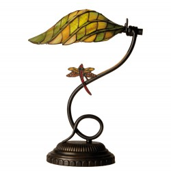 Lampa Biurkowa Tiffany Liść z Ważką Clayre & Eef