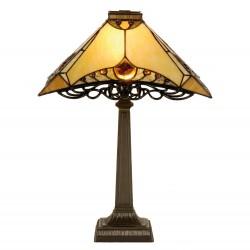 Lampa Stołowa Tiffany Brązowo-Kremowa B Clayre & Eef