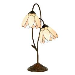 Lampa Stołowa Tiffany Brązowo-Kremowa D Clayre & Eef