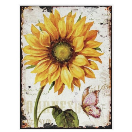prostokatny obrazek w jasnym kolorze z grafiką żółtego słonecznika