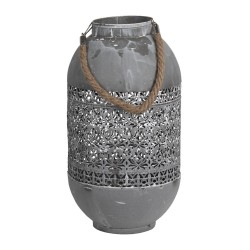 Ażurowy Lampion Metalowy Szary A Clayre & Eef