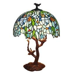 Lampa Tiffany Witrażowa Stołowa z Ptaszkami Clayre & Eef