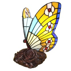 Lampka Tiffany Witrażowa Stołowa Motyl Clayre & Eef