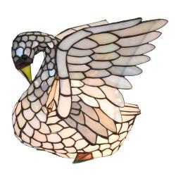 Lampka Tiffany Witrażowa Stołowa Łabędź Clayre & Eef