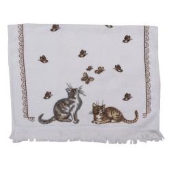 Ręcznik Do Rąk w Stylu Prowansalskim z Kotami i Motylami A Clayre & Eef