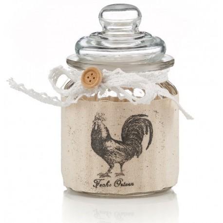 Szklany pojemnik nada się do kuchni jak i do przechowywania małych przedmiotów czy też cukierków. Z motywem dumnego koguta.