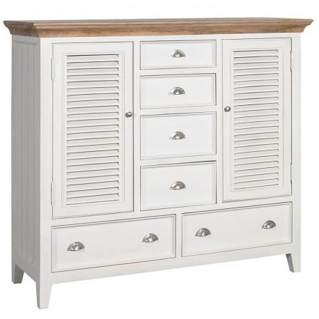 Biała drewniana komoda z drzwiczkami i szufladkami