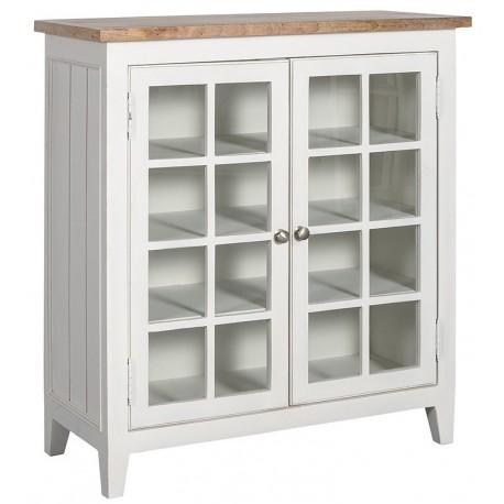 Biała komoda z półkami za oszklonymi drzwiczkami
