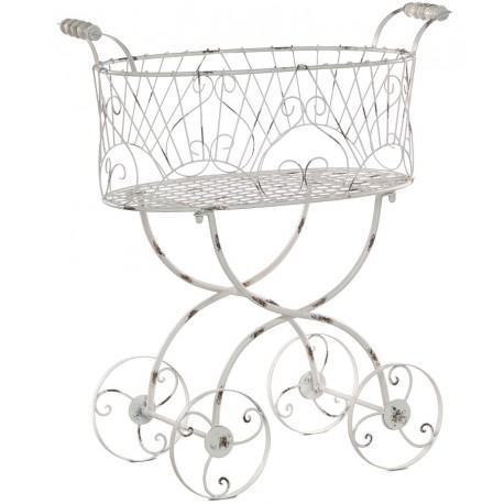 Metalowy kwietnik w kształcie wózka z kółkami w piękne ażurowe zdobienia