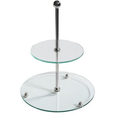 Szklana, dwupoziomowa etażerka jest prostą konstrukcją, doskonałą na ciasto.