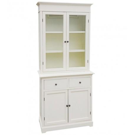 biały kredens z oszklonymi drzwiczkami, szufladkami oraz białą parą drzwiczek
