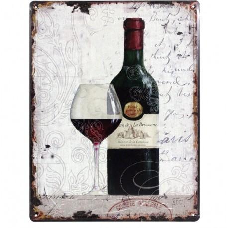 Prostokątna jasna tabliczka z winem