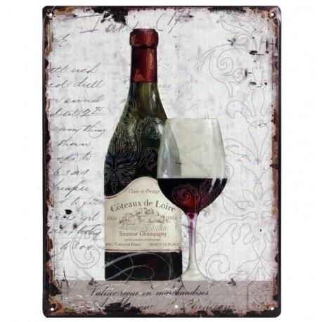metalowy obrazek z butelką wina czerwonego i kieliszkiem