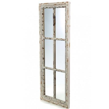 Prostokątne lustro okno w postarzanej ramie
