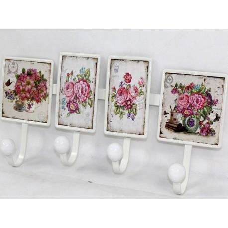 Poczwórny wieszak z ozdobnymi obrazkami kwiatków