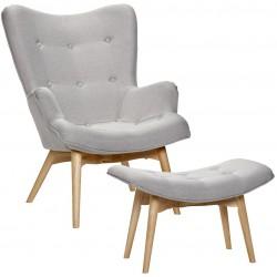Fotel w Stylu Skandynawskim z Podnóżkiem