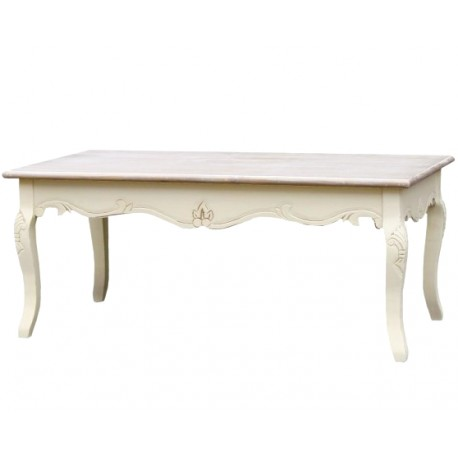 kremowy stolik Rimini z bielonym blatem