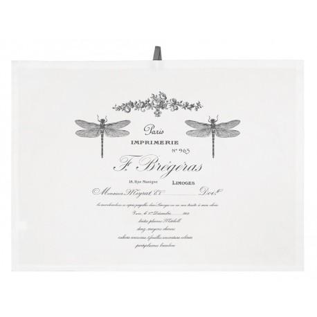 Biała bawełniana ściereczka ozdobiona ciemnymi napisami a także ważkami