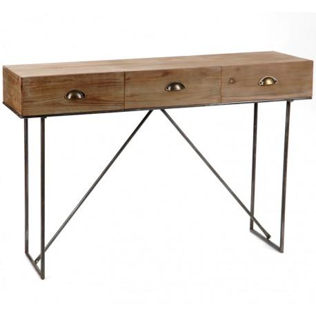 Konsola w stylu loft to połączenie drewna z metalem.