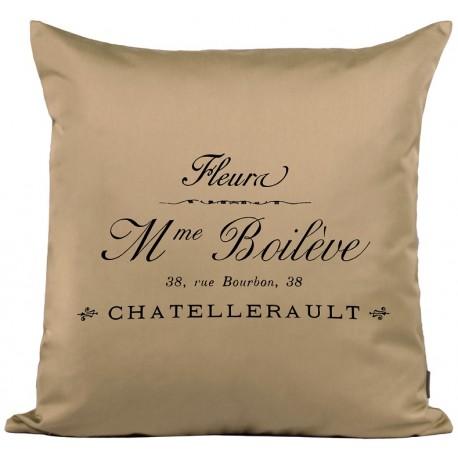 Przepiękna beżowa poduszka z francuskimi napisami
