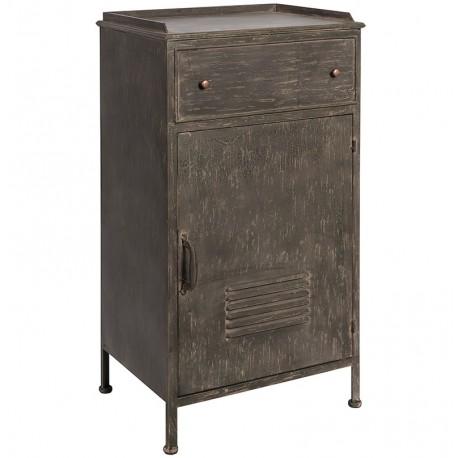 ciemna szafka wykonana z metalu posiadająca drzwiczki i szufladkę