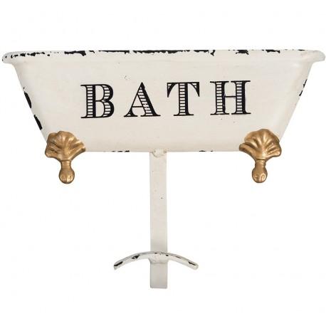 Postarzany wieszak do łazienki ze złotymi detalami ma kształt wanny i czarny napis BATH.