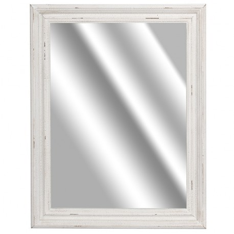 Prostokątne lustro w biało antycznej ramie