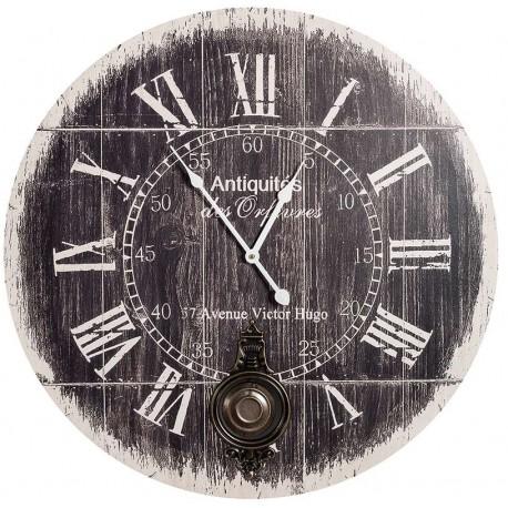 Ciemny zegar marki Belldeco z wahałem i rzymskimi cyframi
